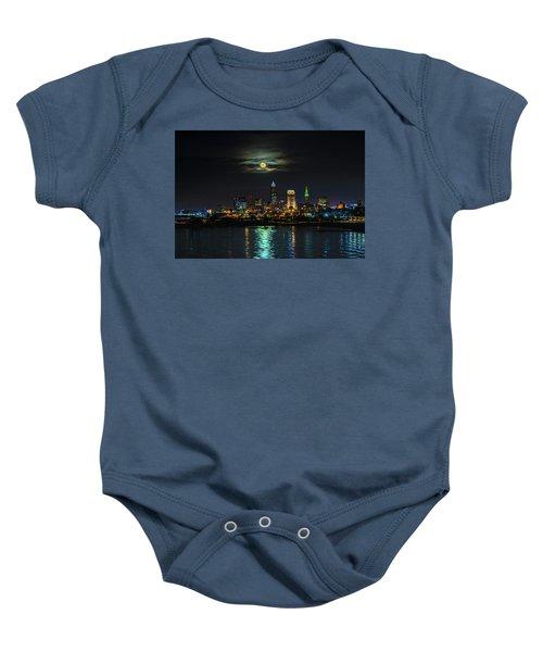 Super Full Moon Over Cleveland Baby Onesie