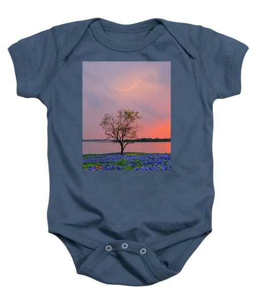 Texas Bluebonnets And Lightning Baby Onesie