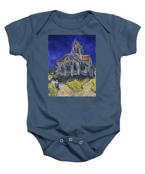 Baby Onesie featuring the painting The Church At Auvers by Van Gogh