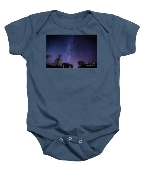 The Milky Way Over Strata Florida Abbey, Ceredigion Wales Uk Baby Onesie