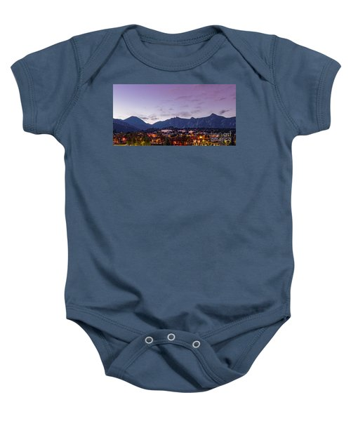 Twilight Panorama Of Estes Park, Stanley Hotel, Castle Mountain And Lumpy Ridge - Rocky Mountains  Baby Onesie