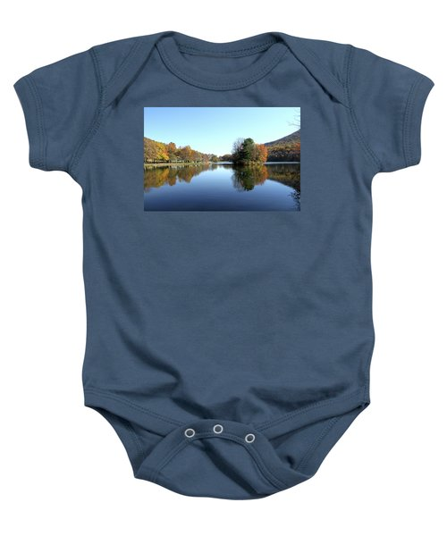 View Of Abbott Lake With Trees On Island, In Autumn Baby Onesie