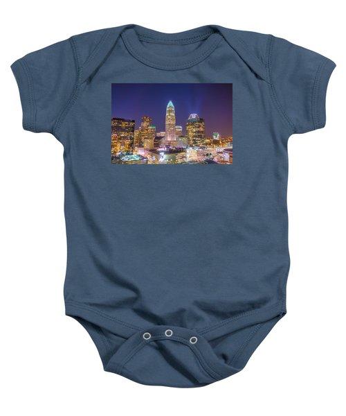 View Of Charlotte Skyline Aerial At Sunset Baby Onesie