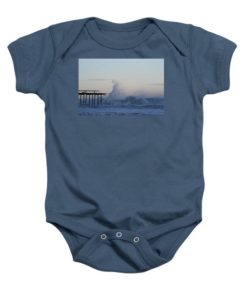 Wave Towers Over Oc Fishing Pier Baby Onesie