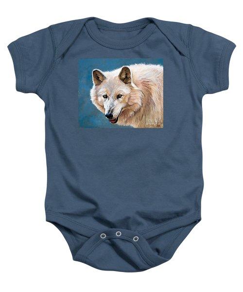 White Wolf Baby Onesie
