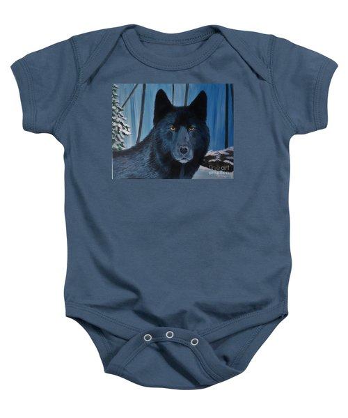 Blue Wolf Baby Onesie