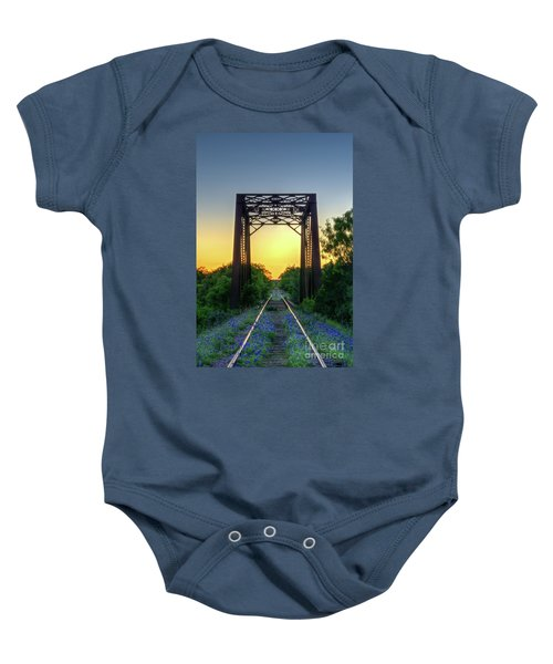 Bluebonnets On The Abandoned Railroad Baby Onesie