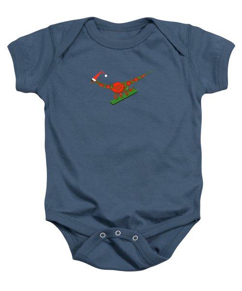 Christmas Dinosaur Snowboarding Baby Onesie