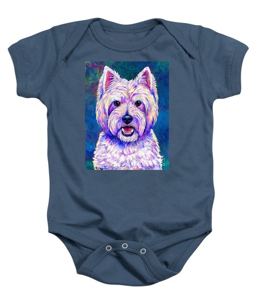 Colorful West Highland White Terrier Blue Background Baby Onesie
