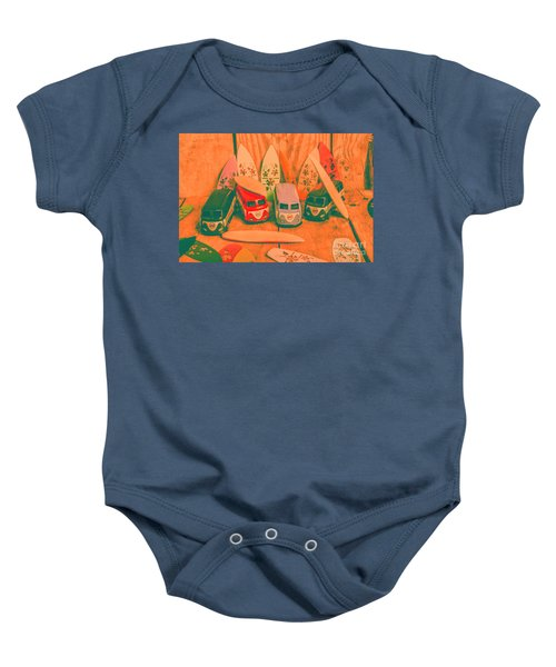 Modelling A Surfing Vacation Baby Onesie