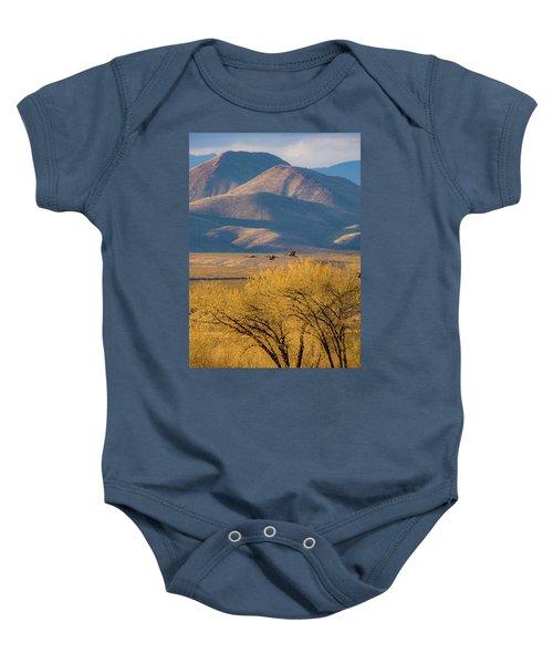 Sandhill Cranes Near The Bosque Baby Onesie