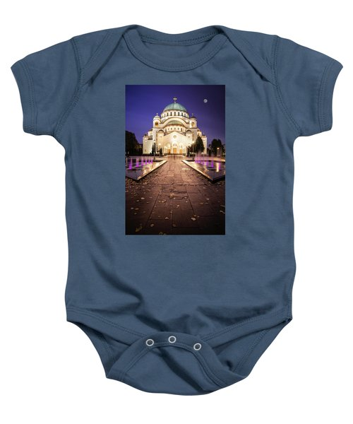 St. Sava Temple In Belgrade Nightscape Baby Onesie