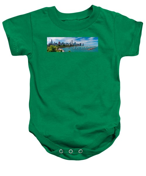 Chicago Skyline Daytime Panoramic Baby Onesie by Adam Romanowicz