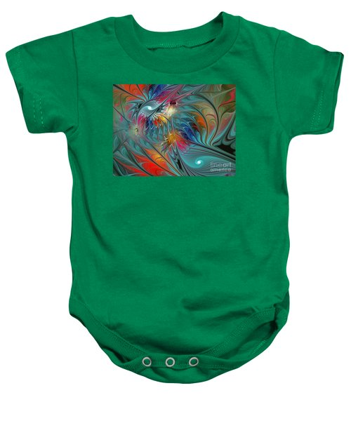 Fresh Mints And Cool Blues-abstract Fractal Art Baby Onesie