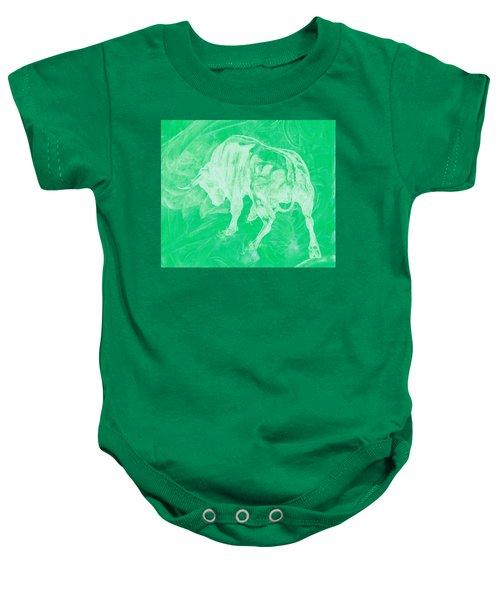 Green Bull Negative Baby Onesie