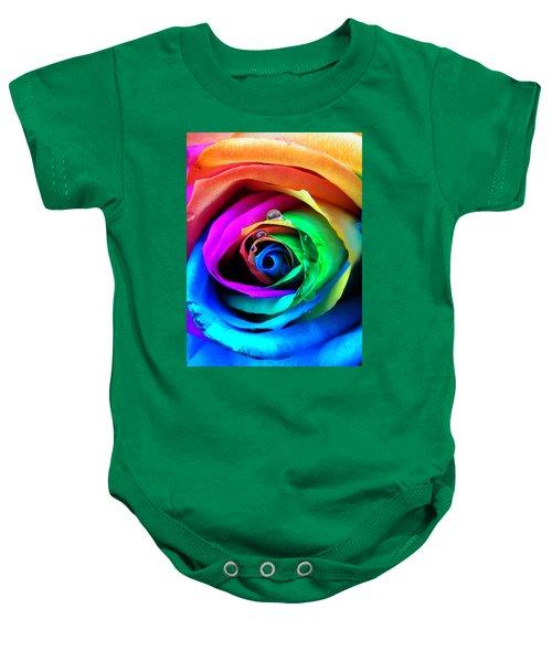 Rainbow Rose Baby Onesie