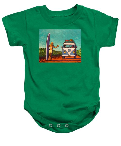 Surfer Girl And Vw Bus Baby Onesie