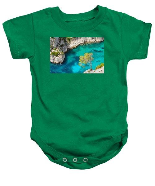 Tree On Turquoise Waters Baby Onesie