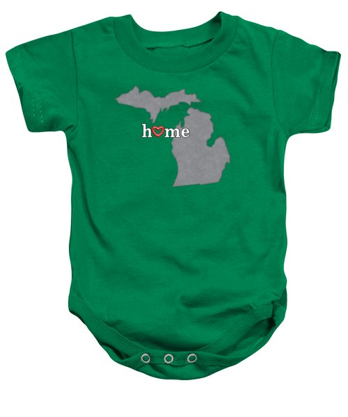 State Map Outline Michigan With Heart In Home Baby Onesie by Elaine Plesser