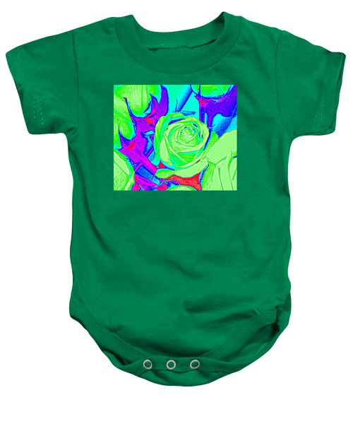Abstract Green Roses Baby Onesie
