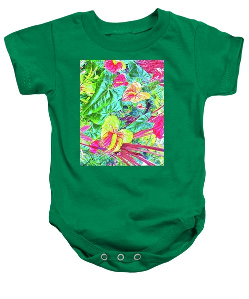 Anthuriums Pink And Turquoise Baby Onesie