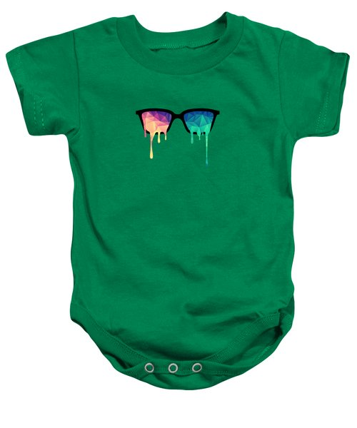 Psychedelic Nerd Glasses With Melting Lsd Trippy Color Triangles Baby Onesie by Philipp Rietz