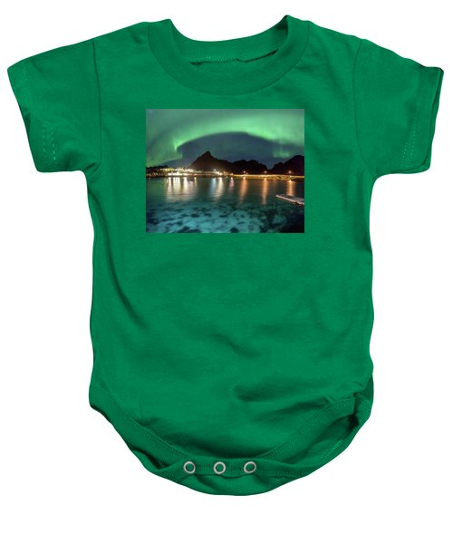 Aurora Above Turquoise Waters Baby Onesie