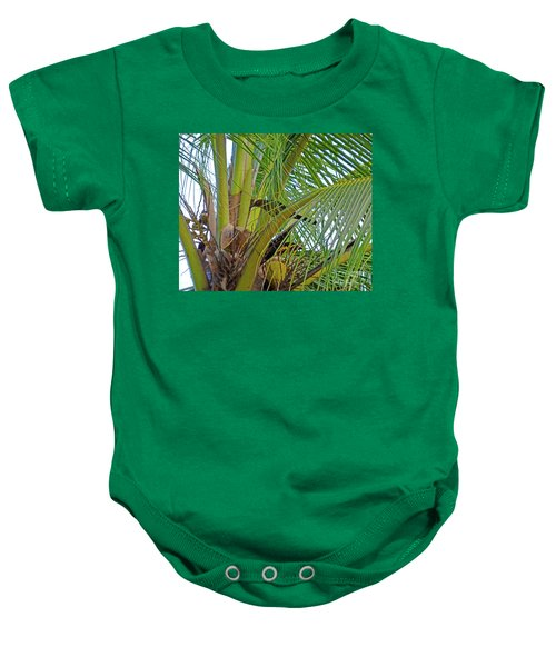 Baby Onesie featuring the photograph Black Bird In Tree by Francesca Mackenney
