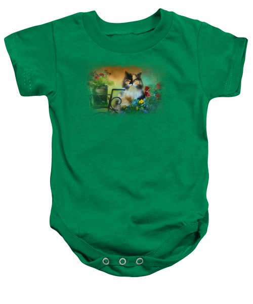 Calico In The Garden Baby Onesie by Jai Johnson