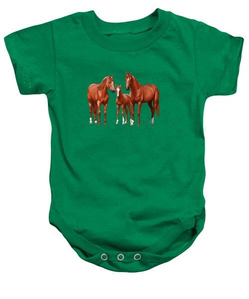 Chestnut Horses In Winter Pasture Baby Onesie