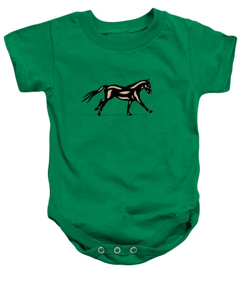 Clementine - Pop Art Horse - Black, Hazelnut, Emerald Baby Onesie