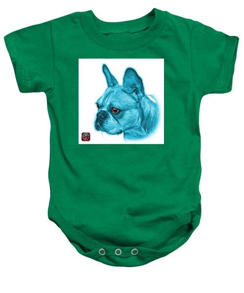Cyan French Bulldog Pop Art - 0755 Wb Baby Onesie