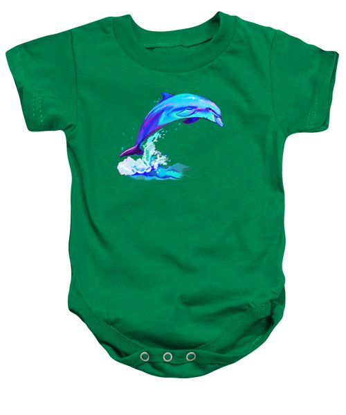 Dolphin In Colors Baby Onesie by A