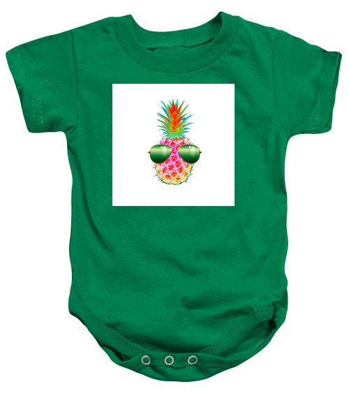 Electric Pineapple With Shades Baby Onesie