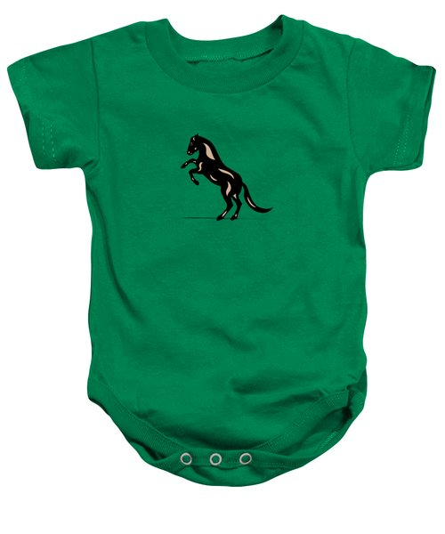 Emma - Pop Art Horse - Black, Hazelnut, Greenery Baby Onesie