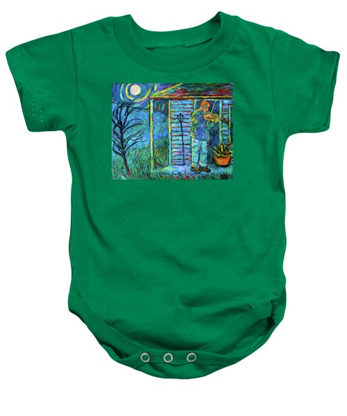 Baby Onesie featuring the painting Fiddling At Midnight's Farm House by Kendall Kessler