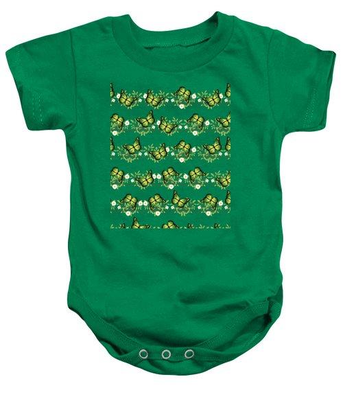 Green Butterflies Pattern Baby Onesie