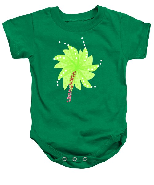 Green Flowers In The Wind Baby Onesie