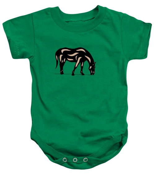 Hazel - Pop Art Horse - Black, Hazelnut, Greenery Baby Onesie