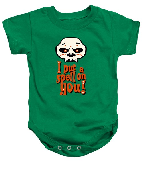I Put A Spell On You Voodoo Retro Poster Baby Onesie by Monkey Crisis On Mars