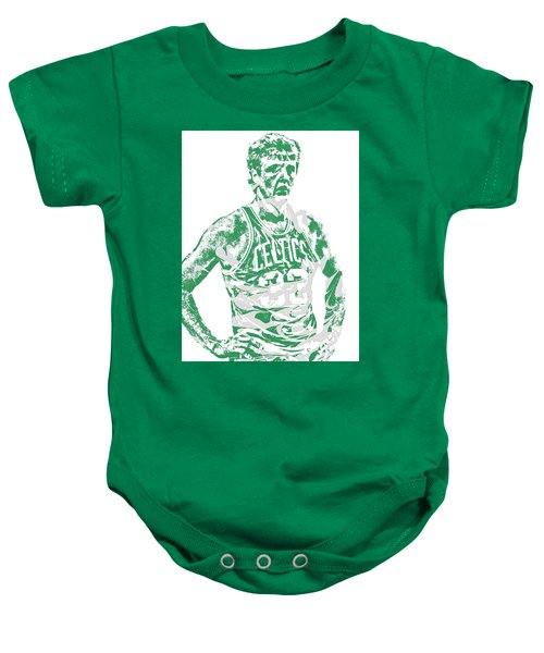 Larry Bird Boston Celtics Pixel Art 6 Baby Onesie