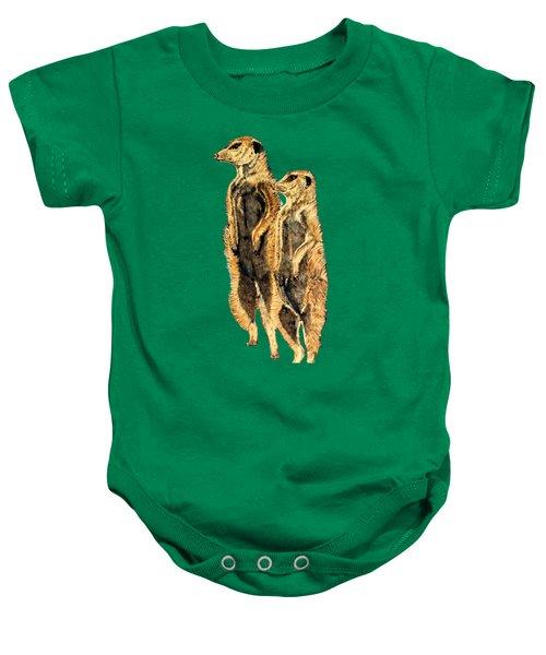 Meerkats Baby Onesie by Teresa  Peterson