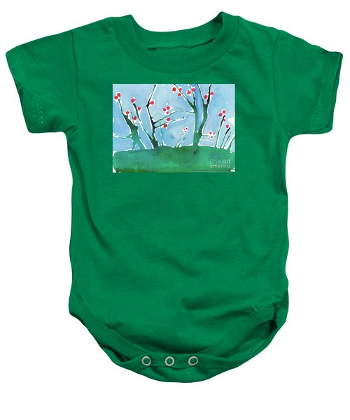 Red Berry Flowers Baby Onesie