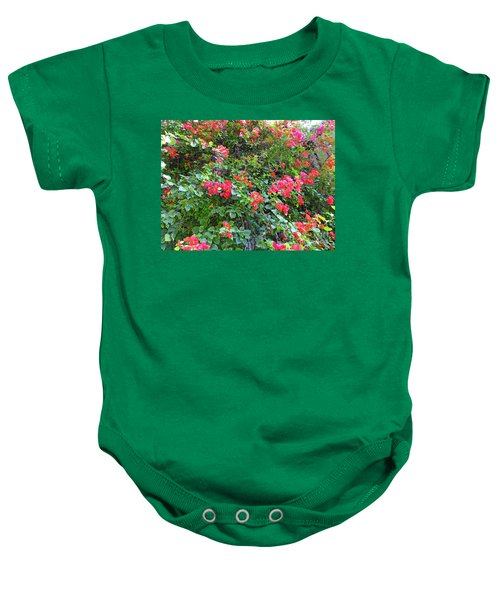 Baby Onesie featuring the photograph Red Flower Hedge by Francesca Mackenney