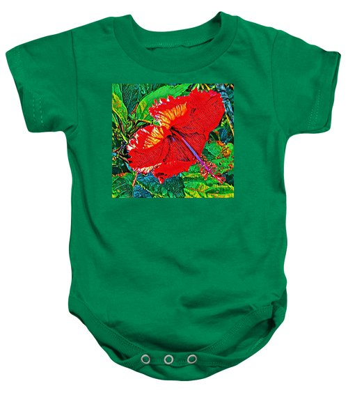 Red Hibiscus Aslant Baby Onesie