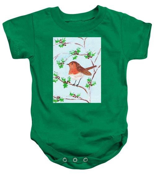 Robin In A Holly Bush Baby Onesie