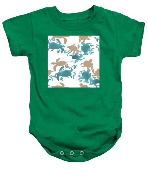 Swimming Turtles Baby Onesie