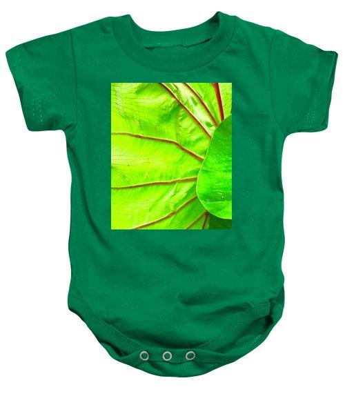 Taro Leaf Close Up In Green Baby Onesie