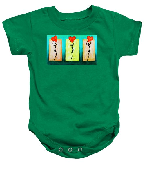 Three Abstract Figures With Hearts Baby Onesie