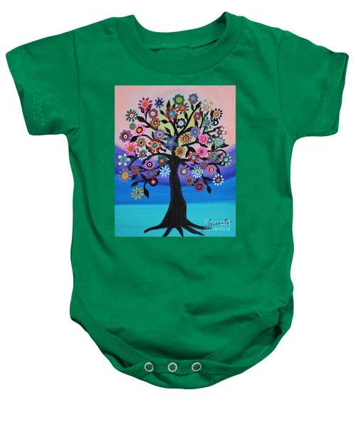 Blooming Tree Of Life Baby Onesie